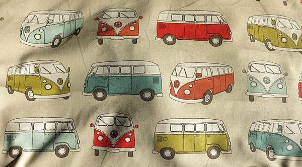 Rest 80 cm  -  Webstoff VW Bus BULLI CamperVan bunt